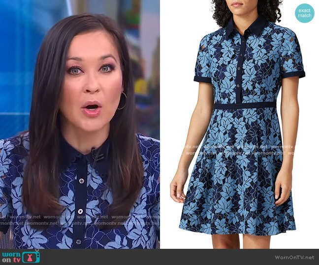 Collection Lace Shirtdress by Draper James worn by Eva Pilgrim on GMA