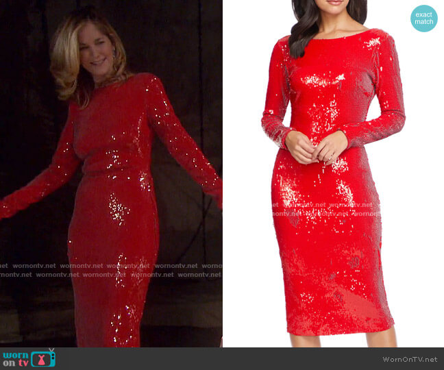Emery Sequin Long Sleeve Sheath Dress by Dress The Population worn by Eve Donovan (Kassie DePaiva) on Days of our Lives