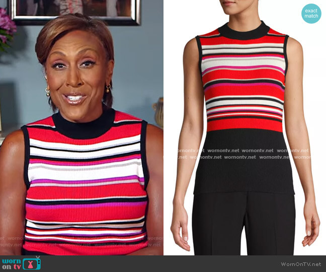Clover Striped Rib-Knit Top by Elie Tahari worn by Robin Roberts  on Good Morning America