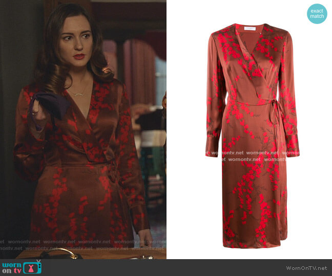 Cherry Blossom-Print Satin Wrap Dress by Equipment worn by Joy Harper (Katherine Barrell) on Good Witch