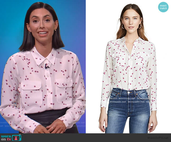 Slim Signature Blouse by Equipment worn by Jade Catta-Preta  on The Soup