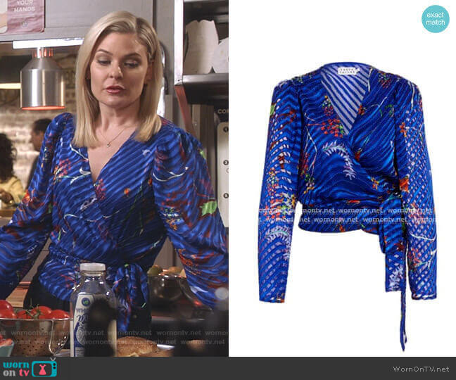 Erica Burnout Wrap-Style Blouse by Tanya Taylor worn by Stephanie Borden (Kylee Evans) on Good Witch