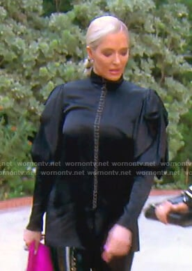 Erika's black grommet embellished blouse on The Real Housewives of Beverly Hills