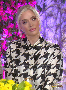 Erika's houndstooth print blouse on The Real Housewives of Beverly Hills