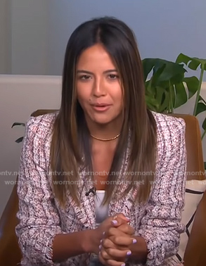 Erin's tweed frayed blazer on E! News Daily Pop