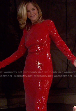 Eve's red sequin dress on Days of our Lives