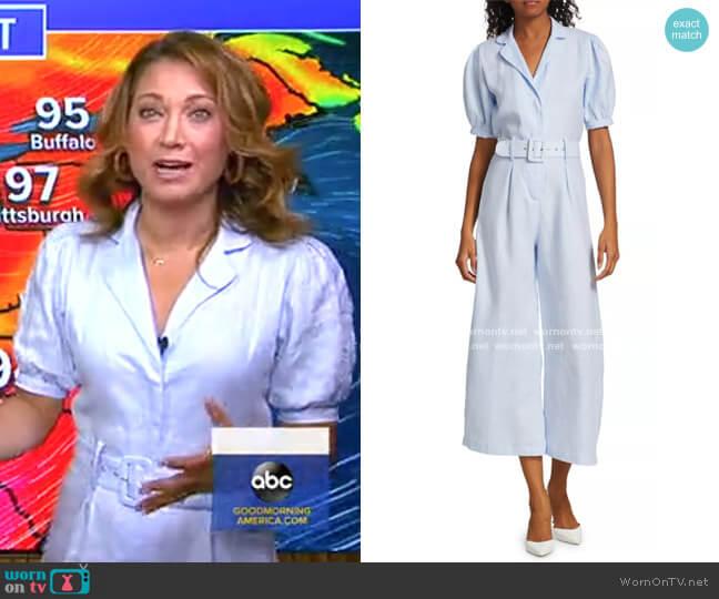 Frederikke Linen Boiler Suit by Faithfull the Brand worn by Ginger Zee  on Good Morning America
