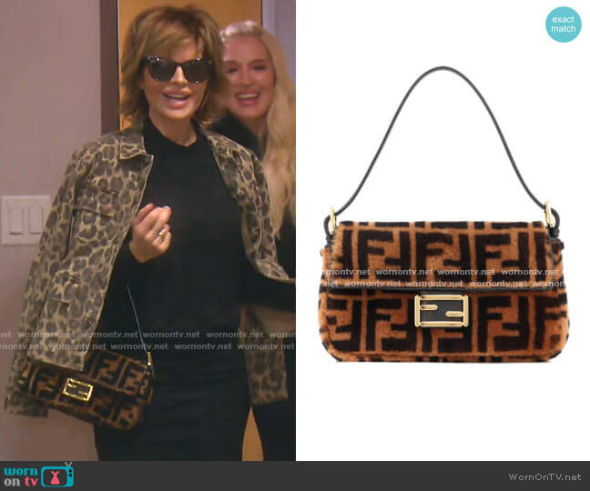 Baguette Fur Shoulder Bag by Fendi worn by Lisa Rinna  on The Real Housewives of Beverly Hills