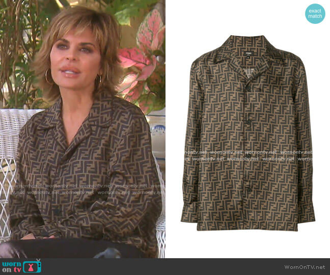 Logo Print Shirt by Fendi worn by Lisa Rinna  on The Real Housewives of Beverly Hills