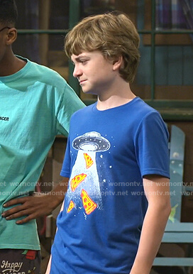 Finn's blue pizza print tee on Bunkd