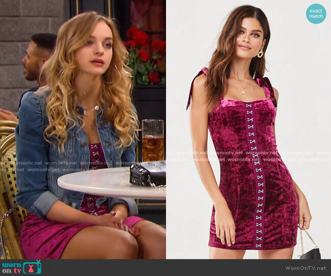 Crushed Velvet Mini Dress by Forever 21 worn by Claire Brady (Olivia Keegan) on Days of our Lives