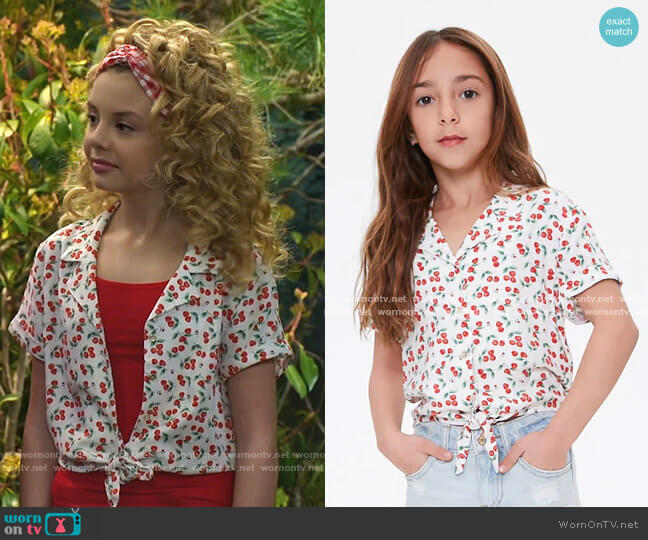 Girls Cherry Self-Tie Shirt by Forever 21 worn by Destiny Baker (Mallory James Mahoney) on Bunkd