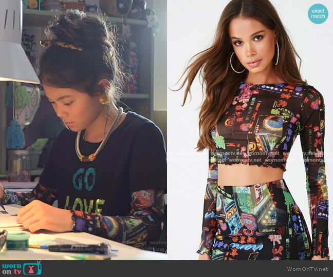 Print Crop Top by Forever 21 worn by Claudia Kishi (Momona Tamada) on The Baby-Sitters Club