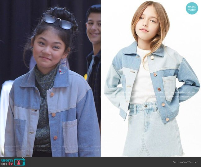 Girls Colorblock Denim Jacket by Forever 21 worn by Claudia Kishi (Momona Tamada) on The Baby-Sitters Club