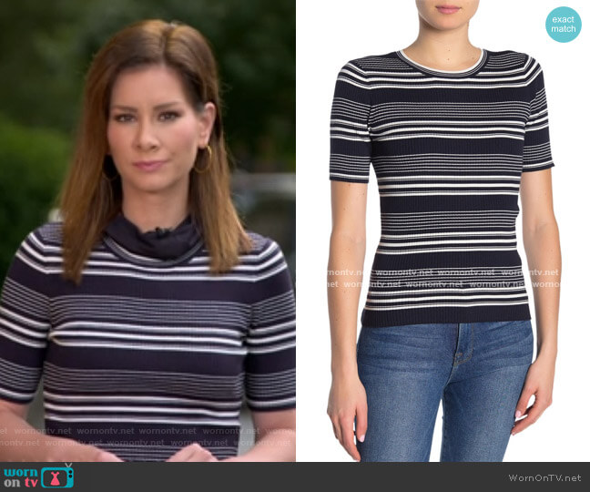 Stripe Rib Knit Top by Frame worn by Rebecca Jarvis  on Good Morning America