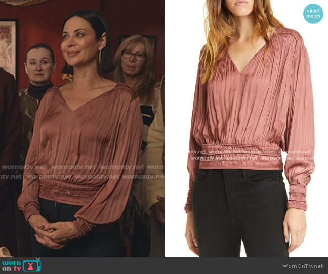 V-Neck Pleated Top by Frame worn by Cassandra Nightingale (Catherine Bell) on Good Witch