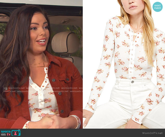 One of the Girls Floral Thermal Henley by Free People worn by Lou Hockhauser (Miranda May) on Bunkd