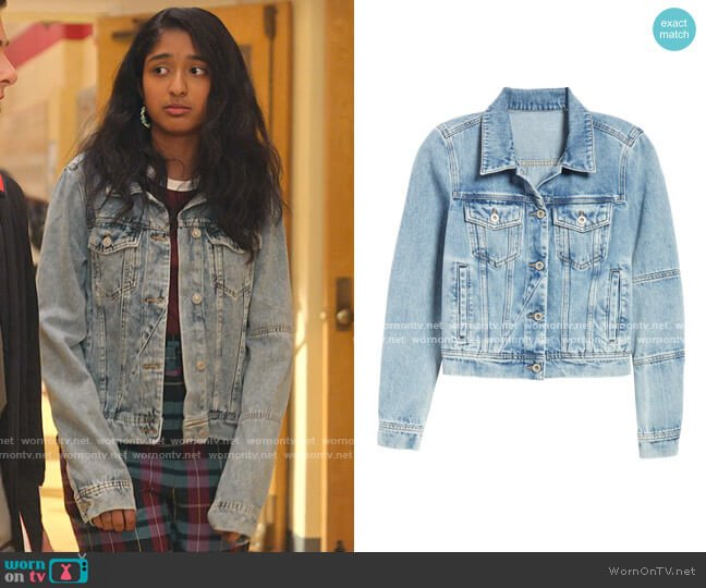 Rumors Denim Jacket by Free People worn by Devi Vishwakumar (Maitreyi Ramakrishnan) on Never Have I Ever
