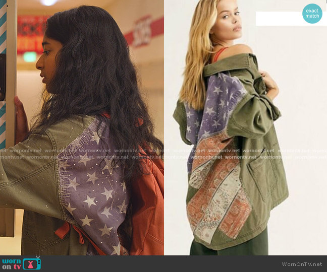 Spruce Military Shirt Jacket by Free People  worn by Devi Vishwakumar (Maitreyi Ramakrishnan) on Never Have I Ever