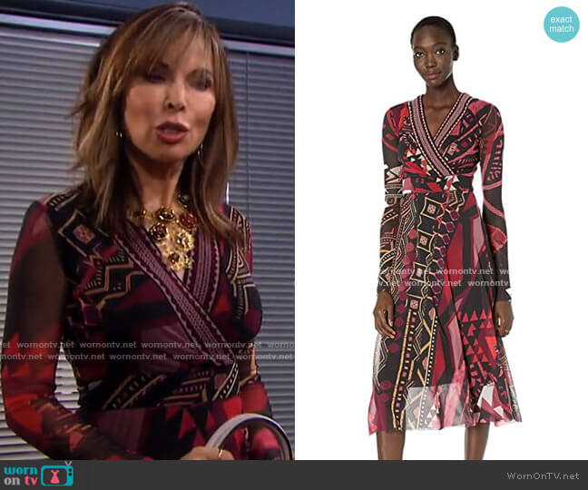 Geometric Faux Wrap Dress by Fuzzi worn by Kate Roberts (Lauren Koslow) on Days of our Lives
