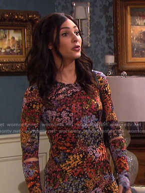 Gabi's black floral cutout sleeve dress on Days of our Lives