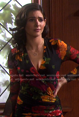 Gabi's black floral surplice dress on Days of our Lives