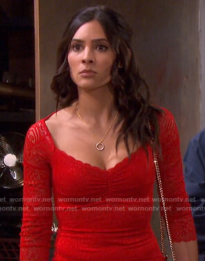 Gabi's red scalloped lace dress on Days of our Lives