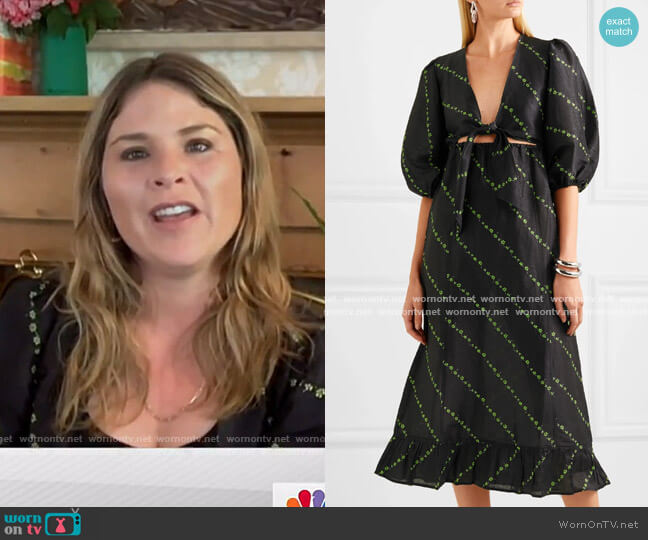 Floral-Print Linen and Silk-Blend Midi Dress by Ganni worn by Jenna Bush Hager  on Today