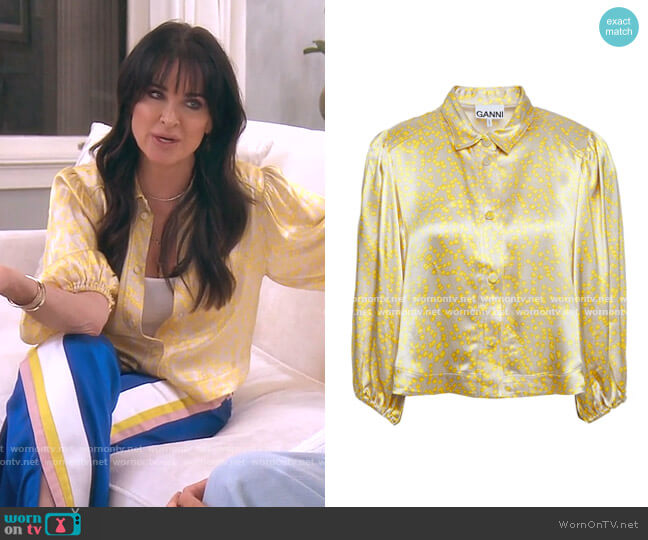 Floral-Print Satin Shirt by Ganni worn by Kyle Richards  on The Real Housewives of Beverly Hills