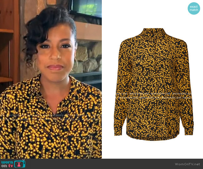 Goldstone Floral-Print Crepe Shirt by Ganni worn by Sheinelle Jones  on Today