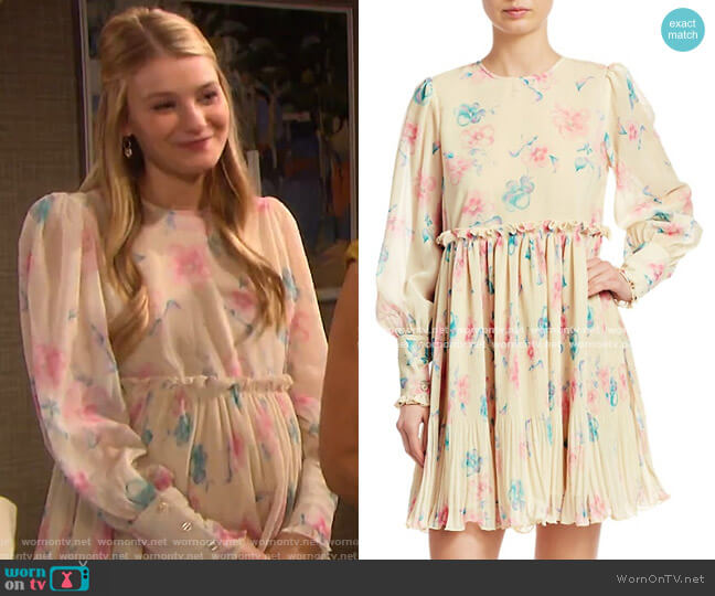 Pleated Floral Babydoll Dress by Ganni worn by Lindsay Arnold on Days of our Lives