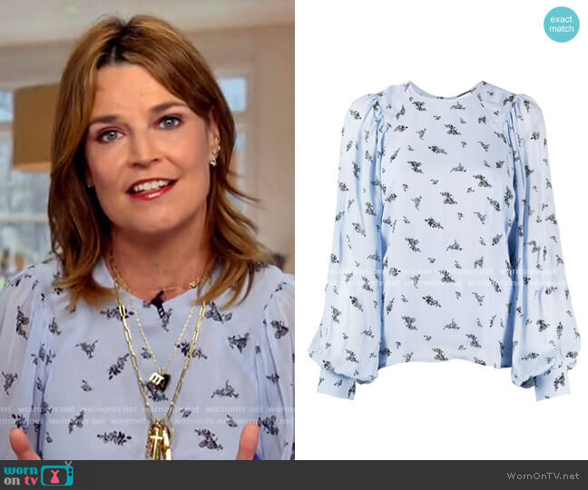Printed Georgette Blouse by Ganni worn by Savannah Guthrie  on Today