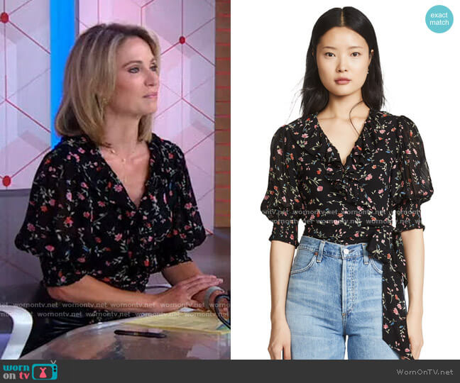 Printed Georgette Top by Ganni worn by Amy Robach  on Good Morning America