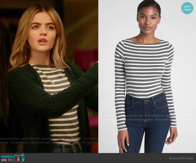 Gap Modern Stripe Long Sleeve Boatneck T-Shirt worn by Lucy Neal (Lucy Hale) on A Nice Girl Like You