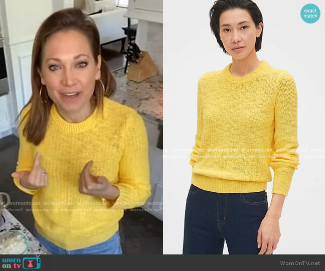 Slub Crewneck Sweater by Gap worn by Ginger Zee  on Good Morning America
