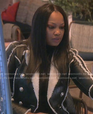 Garcelle's black shearling leather jacket on The Real Housewives of Beverly Hills