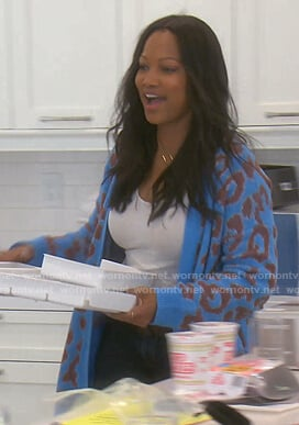 Garcelle's blue leopard cardigan on The Real Housewives of Beverly Hills