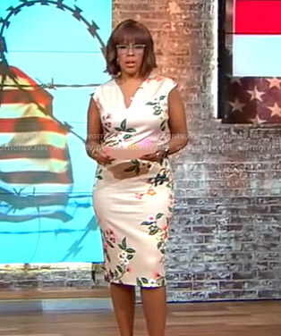 Gayle's beige floral v-neck sheath dress on CBS This Morning