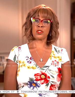 Gayle King's white floral v-neck dress on CBS This Morning