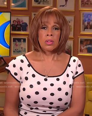 Gayle's white polka dot dress on CBS This Morning