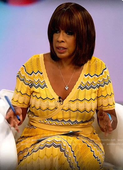 Gayle's yellow zig-zag knit wrap top on CBS This Morning