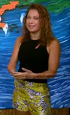 Ginger's black cutout top and floral shorts on Good Morning America