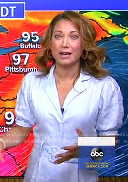 Ginger's blue belted linen jumpsuit on Good Morning America
