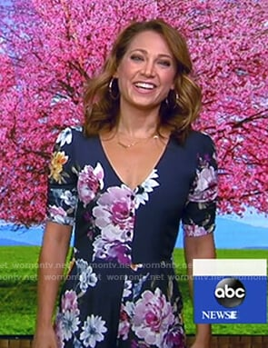 Ginger's navy floral jumpsuit on Good Morning America