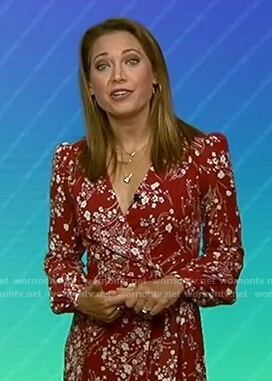 Ginger's red floral wrap dress on Good Morning America