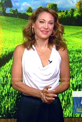 Ginger's white cowl neck top and navy pants on Good Morning America