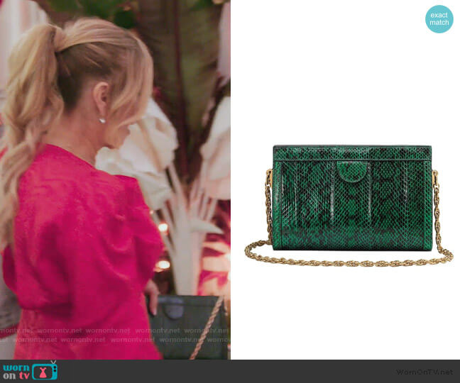 Ophidia small snakeskin shoulder bag by Gucci worn by Ramona Singer  on The Real Housewives of New York City