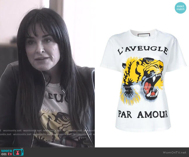 Tiger-Print Cotton Tee by Gucci worn by Kyle Richards  on The Real Housewives of Beverly Hills