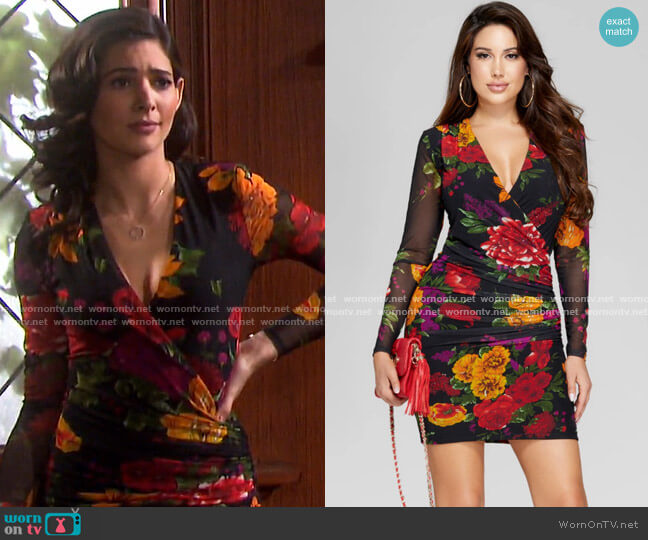 Emma Mesh Ruched Dress by Guess worn by Gabi Hernandez (Camila Banus) on Days of our Lives