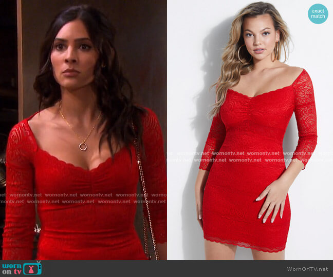 Paola Lace Dress by Guess worn by Gabi Hernandez (Camila Banus) on Days of our Lives